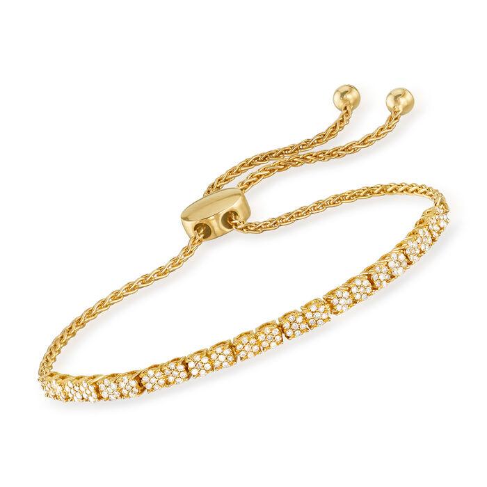 .50 ct. t.w. Diamond Cluster Bolo Bracelet in 18kt Gold Over Sterling