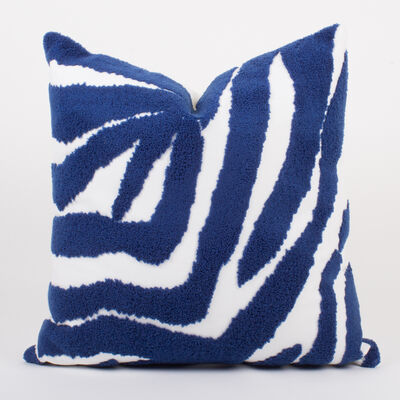 Set of 2 Blue and White Terry Loop Throw Pillows, , default