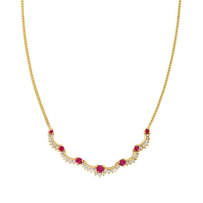 C. 1980 Vintage 1.50 ct. t.w. Ruby and .60 ct. t.w. Diamond Scalloped Necklace in 14kt Yellow Gold