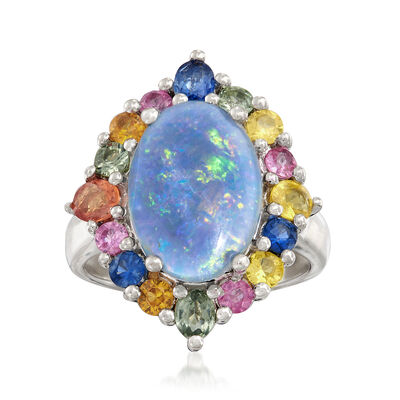 Blue Opal and 1.50 ct. t.w. Multicolored Sapphire Ring in Sterling Silver, , default