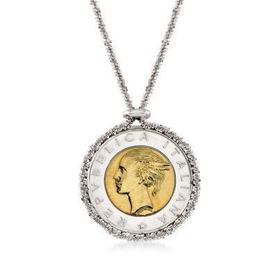Italian Genuine 500-Lira Coin Drop Necklace in Sterling Silver, , default