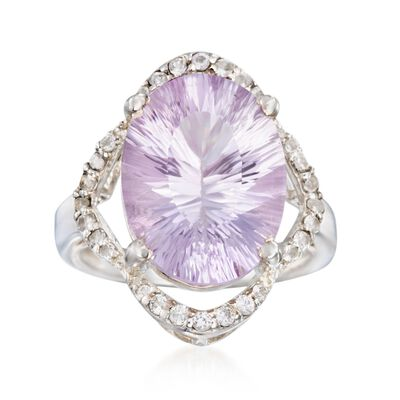 7.75 ct. t.w. Amethyst and .40 ct. t.w. White Topaz Ring in Sterling Silver, , default