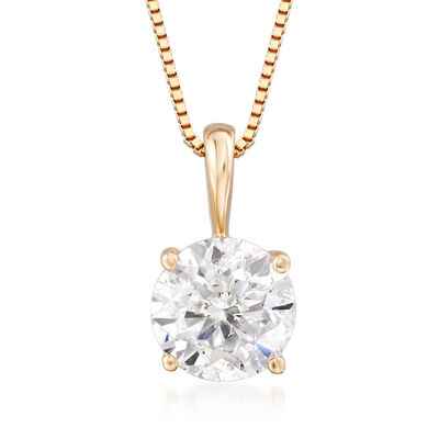 1.00 Carat Diamond Solitaire Pendant Necklace in 14kt Yellow Gold, , default
