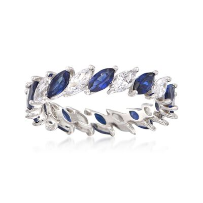 Simulated Sapphire and 1.40 ct. t.w. CZ Eternity Band in Sterling Silver, , default