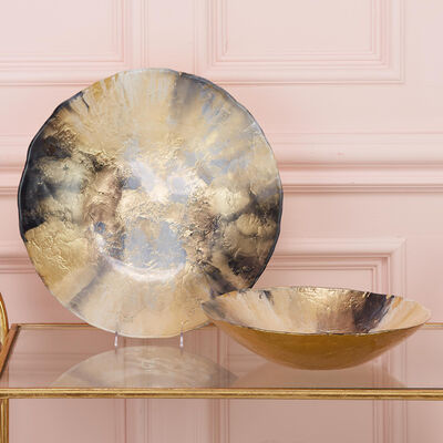Set of 2 Gold and Black Glass Bowls