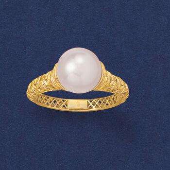 9-9.5mm Cultured Pearl Filigree Ring in 14kt Yellow Gold