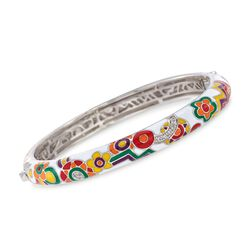 "Belle Etoile ""Constellations: Fiesta"" Enamel and .30 ct. t.w. CZ Bangle Bracelet in Sterling Silver. 7"", , default"