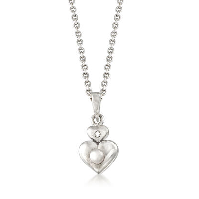 Child's Cultured Pearl Double Heart Pendant Necklace with Diamond Accent in Sterling Silver, , default