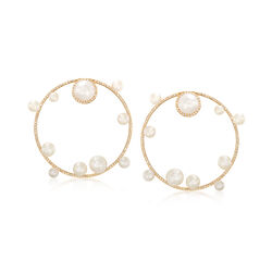 Cultured Pearl  and Diamond Circle  Drop Earrings, , default