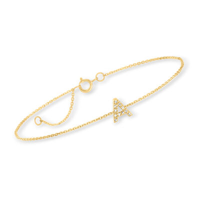 Diamond-Accented Single-Initial Bracelet in 14kt Yellow Gold