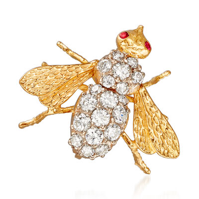 C. 1990 Vintage .65 ct. t.w. Diamond Bee Pin with Ruby Accents in 18kt Yellow Gold, , default