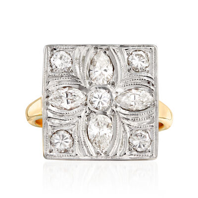 C. 1970 Vintage 1.00 ct. t.w. Diamond Flower Ring in 14kt Two-Tone Gold, , default