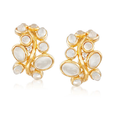 Moonstone and .10 ct. t.w. White Topaz Earrings in 18kt Gold Over Sterling, , default