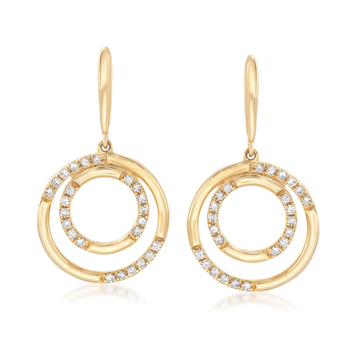 .19 ct. t.w. Diamond Double Circle Drop Earrings in 14kt Yellow Gold