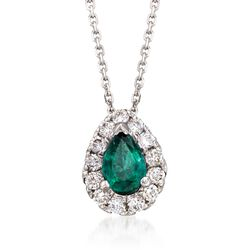 ".70 Carat Emerald and .40 ct. t.w. Diamond Necklace in 14kt White Gold. 16"", , default"