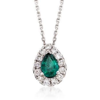 """.70 Carat Emerald and .40 ct. t.w. Diamond Necklace in 14kt White Gold. 16"""", , default"""