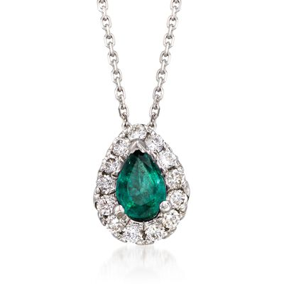 .70 Carat Emerald and .40 ct. t.w. Diamond Necklace in 14kt White Gold, , default