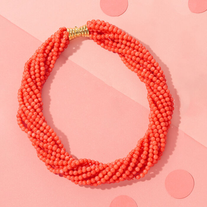 Multi-Strand Coral Bead Necklace in 18kt Gold Over Sterling Silver