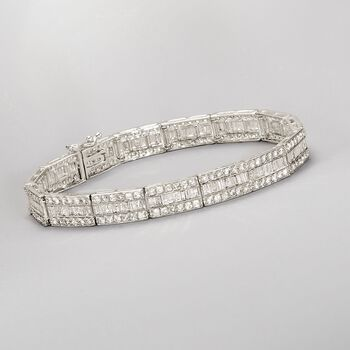 6.75 ct. t.w. Baguette and Round Diamond Bracelet in 14kt White Gold. 8""