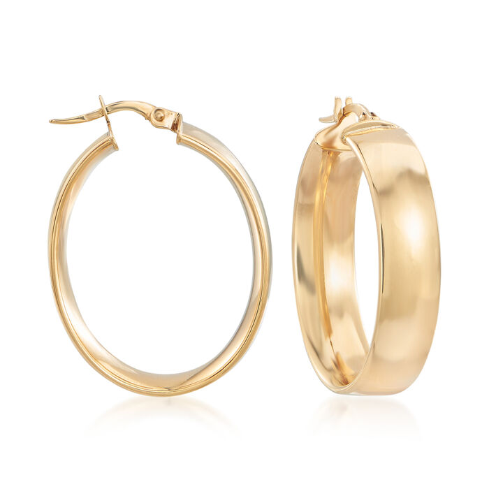 Italian Wide Oval Hoop Earrings in 14kt Yellow Gold. 1 1/4""
