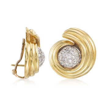 "C. 1980 Vintage 1.60 ct. t.w. Diamond Swirl Earrings in 14kt and 18kt Gold. 3/8"""