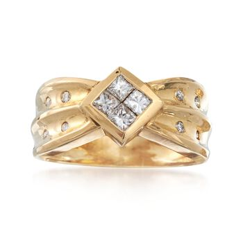C. 1980 Vintage .50 ct. t.w. Princess-Cut and Round Diamond Ring in 14kt Yellow Gold. Size 7, , default