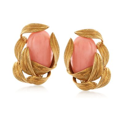 C. 1960 Vintage Pink Coral and 18kt Yellow Gold Leaf Earrings, , default