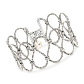 """ALOR """"Classique"""" Grey Stainless Steel Openwork Bracelet. 7"""", , default"""