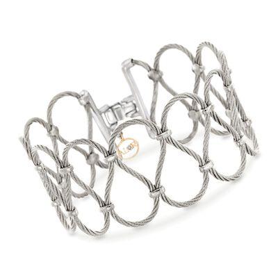 """ALOR """"Classique"""" Grey Stainless Steel Openwork Bracelet, , default"""