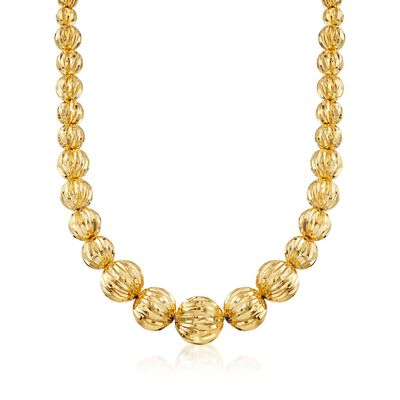 Italian Andiamo 8-17mm 14kt Yellow Gold Fluted Bead Necklace, , default