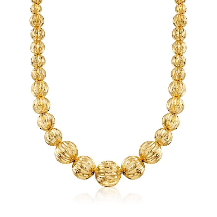 Italian Andiamo 8-17mm 14kt Yellow Gold Fluted Bead Necklace