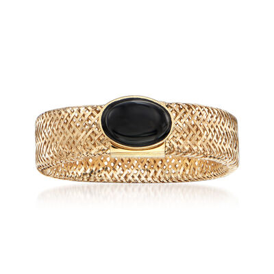 Italian Black Onyx Mesh Ring in 14kt Yellow Gold