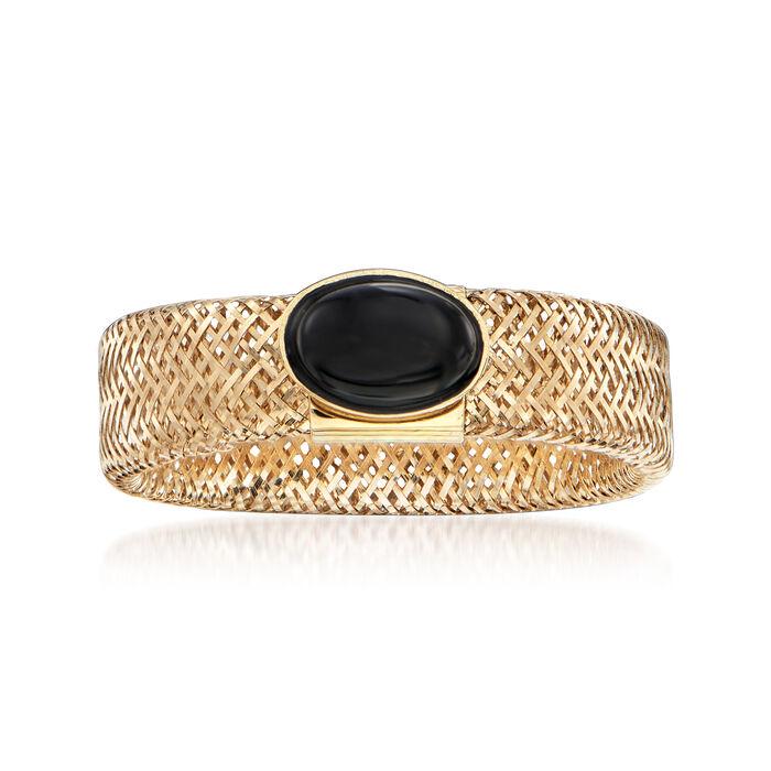Italian Black Onyx Mesh Ring in 14kt Yellow Gold, , default