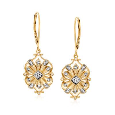 .13 ct. t.w. Diamond Openwork Drop Earrings in 18kt Gold Over Sterling