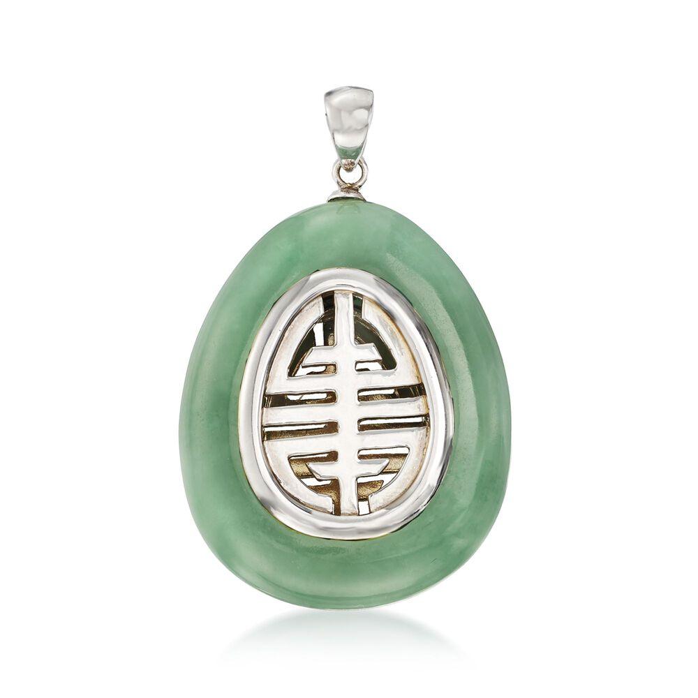 Green Jade Longevity Chinese Symbol Teardrop Pendant With Sterling
