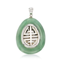"Green Jade ""Longevity"" Chinese Symbol Teardrop Pendant With Sterling Silver, , default"