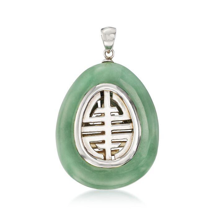 "Green Jade ""Longevity"" Chinese Symbol Teardrop Pendant with Sterling Silver, , default"