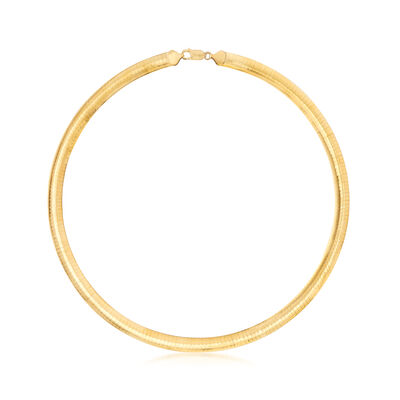 Italian 8mm 18kt Gold Over Sterling Omega Necklace