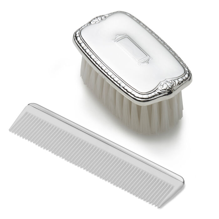 Empire Sterling Silver Baby's Shield Brush and Comb Set, , default