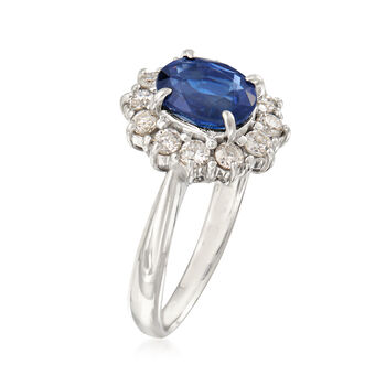 2.17 Carat Sapphire and .68 ct. t.w. Diamond Ring in Platinum. Size 7