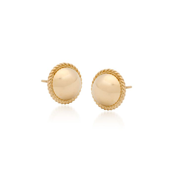 8mm 14kt Yellow Gold Roped Button Earrings