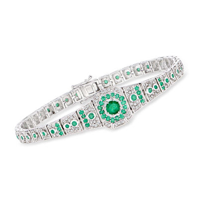 1.50 ct. t.w. Emerald and .96 ct. t.w. Diamond Bracelet in Sterling Silver