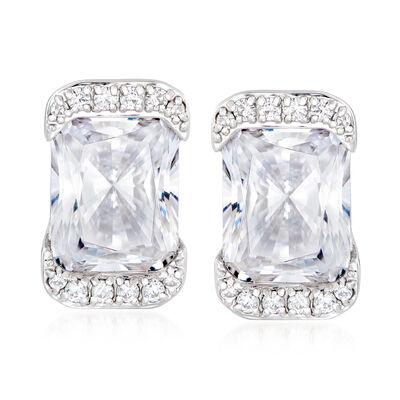5.70 ct. t.w. CZ Rectangle Earrings in Sterling Silver
