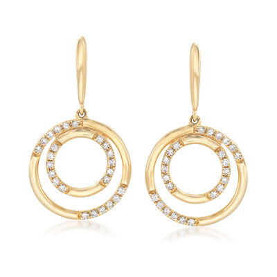 .19 ct. t.w. Diamond Double Circle Drop Earrings in 14kt Yellow Gold, , default