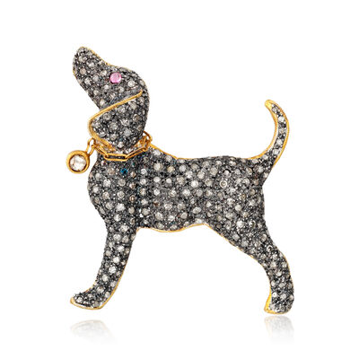 C. 1970 Vintage 2.01 ct. t.w. Diamond Dog Pin/Pendant with Ruby Accent in Two-Tone Sterling Silver