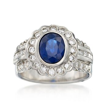 C. 1990 Vintage 2.35 Carat Sapphire and 1.10 ct. t.w. Diamond Ring in 14kt White Gold. Size 7.5, , default