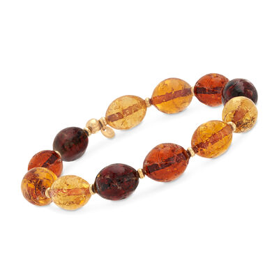 Italian Multicolored Brown Murano Glass Bracelet in 18kt Gold Over Sterling, , default
