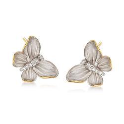 Simon G. .10 ct. t.w. Diamond Butterfly Earrings in 18kt Two-Tone Gold, , default