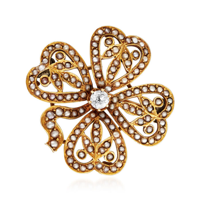 C. 1920 Vintage .20 Carat Diamond and Seed Pearl Shamrock Pin in 18kt Yellow Gold