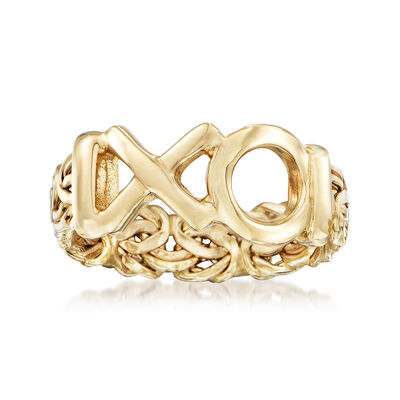 "14kt Yellow Gold Byzantine ""XO"" Ring, , default"